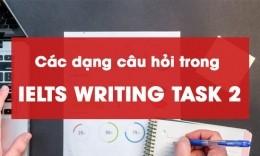 Các dạng câu hỏi trong IELTS Writing Task 2