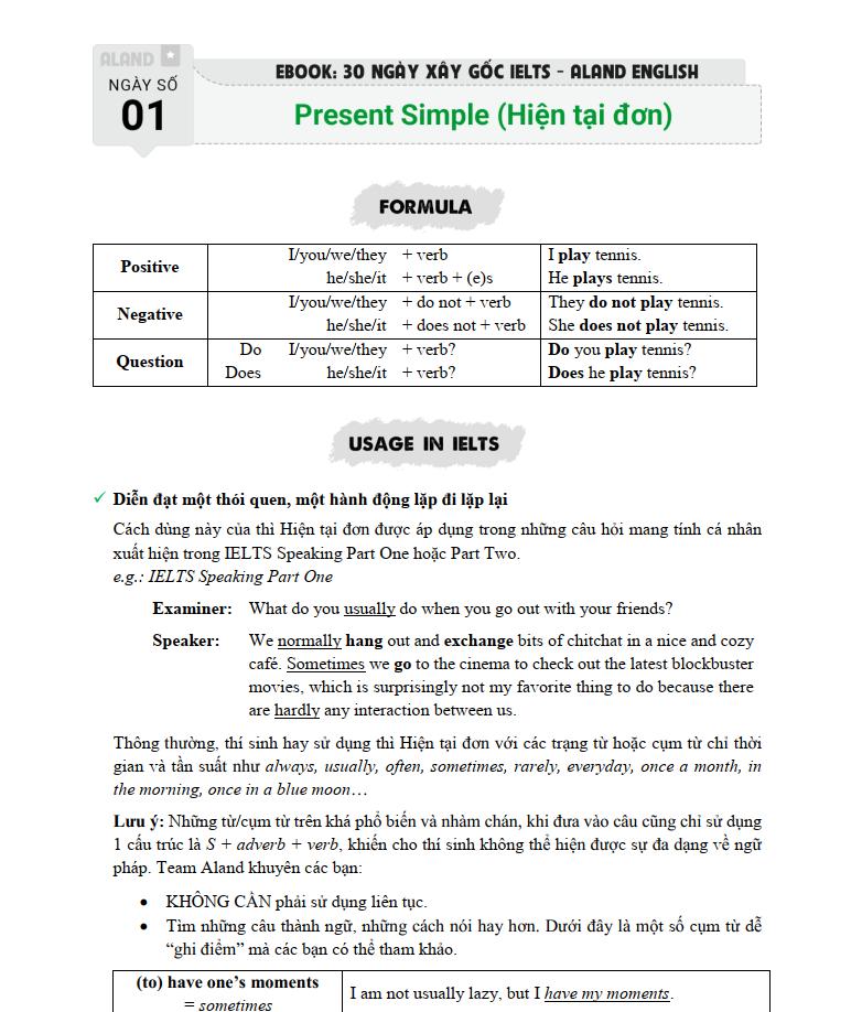 Bài 1 cuốn sách 30 ngày xây gốc IELTS